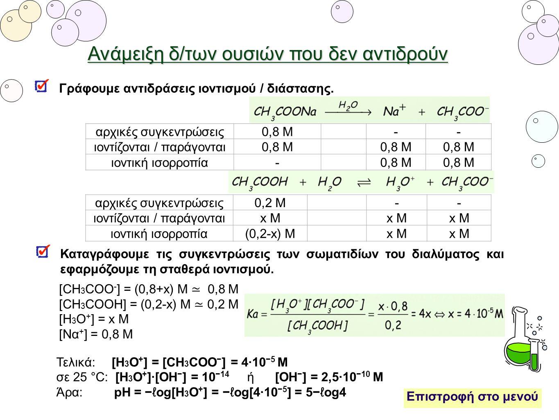 Ανάμειξη δ/των ουσιών που δεν αντιδρούν Γράφουμε αντιδράσεις ιοντισμού / διάστασης. αρχικές συγκεντρώσεις0,8 Μ-- ιοντίζονται / παράγονται0,8 Μ ιοντική