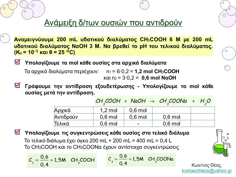 Ανάμειξη δ/των ουσιών που αντιδρούν Αναμειγνύουμε 200 mL υδατικού διαλύματος CH 3 COOH 6 Μ με 200 mL υδατικού διαλύματος ΝαΟΗ 3 Μ. Να βρεθεί το pH του