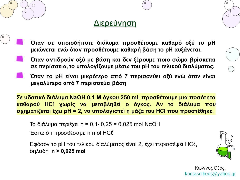 Διερεύνηση Κων/νος Θέος, kostasctheos@yahoo.gr kostasctheos@yahoo.gr Το διάλυμα περιέχει n = 0,1 ⋅ 0,25 = 0,025 mol NαOH Όταν σε οποιοδήποτε διάλυμα π
