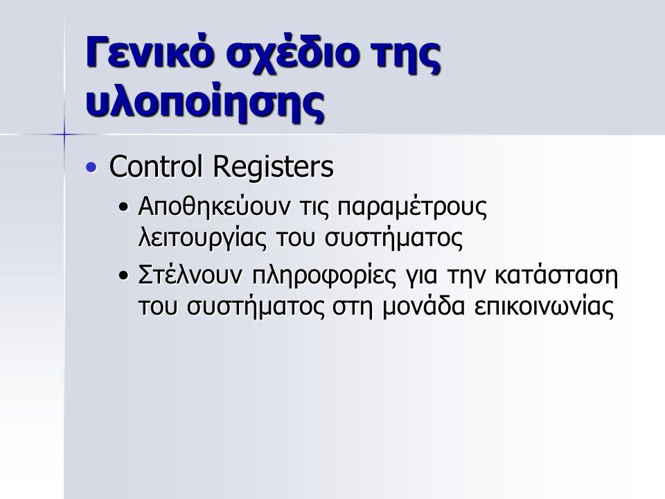 Γενικό σχέδιο της υλοποίησης Control RegistersControl Registers Αποθηκεύουν τις παραμέτρους λειτουργίας του συστήματοςΑποθηκεύουν τις παραμέτρους λειτουργίας του συστήματος Στέλνουν πληροφορίες για την κατάσταση του συστήματος στη μονάδα επικοινωνίαςΣτέλνουν πληροφορίες για την κατάσταση του συστήματος στη μονάδα επικοινωνίας