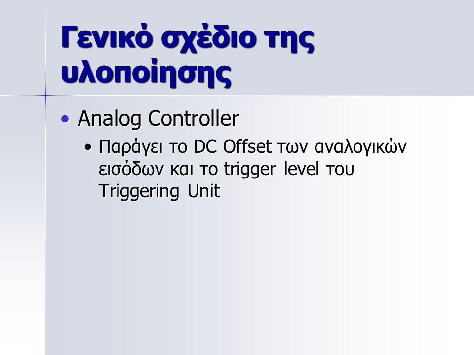 Γενικό σχέδιο της υλοποίησης Analog ControllerAnalog Controller Παράγει το DC Offset των αναλογικών εισόδων και το trigger level του Triggering UnitΠαράγει το DC Offset των αναλογικών εισόδων και το trigger level του Triggering Unit