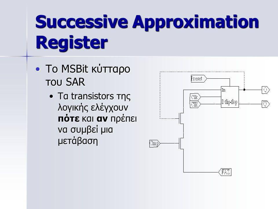 Successive Approximation Register Το MSBit κύτταρο του SARΤο MSBit κύτταρο του SAR Τα transistors της λογικής ελέγχουν πότε και αν πρέπει να συμβεί μια μετάβασηΤα transistors της λογικής ελέγχουν πότε και αν πρέπει να συμβεί μια μετάβαση