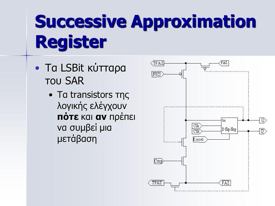 Successive Approximation Register Τα LSBit κύτταρα του SARΤα LSBit κύτταρα του SAR Τα transistors της λογικής ελέγχουν πότε και αν πρέπει να συμβεί μια μετάβασηΤα transistors της λογικής ελέγχουν πότε και αν πρέπει να συμβεί μια μετάβαση