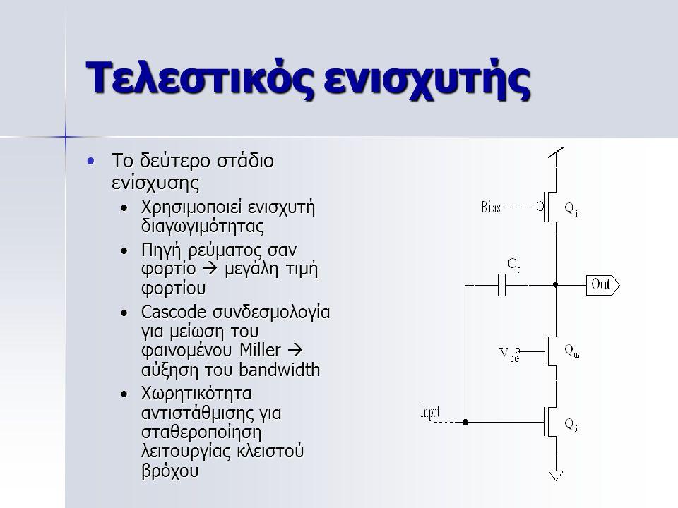 Τελεστικός ενισχυτής Το δεύτερο στάδιο ενίσχυσηςΤο δεύτερο στάδιο ενίσχυσης Χρησιμοποιεί ενισχυτή διαγωγιμότηταςΧρησιμοποιεί ενισχυτή διαγωγιμότητας Π