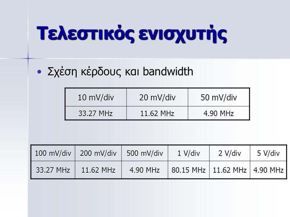 Σχέση κέρδους και bandwidthΣχέση κέρδους και bandwidth 10 mV/div 20 mV/div 50 mV/div 33.27 MHz11.62 MHz4.90 MHz 100 mV/div 200 mV/div 500 mV/div 1 V/d