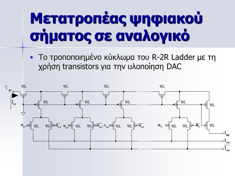 Μετατροπέας ψηφιακού σήματος σε αναλογικό Το τροποποιημένο κύκλωμα του R-2R Ladder με τη χρήση transistors για την υλοποίηση DACΤο τροποποιημένο κύκλωμα του R-2R Ladder με τη χρήση transistors για την υλοποίηση DAC
