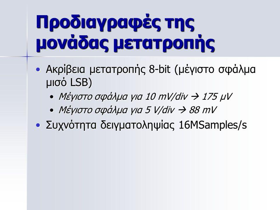 Προδιαγραφές της μονάδας μετατροπής Ακρίβεια μετατροπής 8-bit (μέγιστο σφάλμα μισό LSB)Ακρίβεια μετατροπής 8-bit (μέγιστο σφάλμα μισό LSB) Μέγιστο σφάλμα για 10 mV/div  175 μVΜέγιστο σφάλμα για 10 mV/div  175 μV Μέγιστο σφάλμα για 5 V/div  88 mVΜέγιστο σφάλμα για 5 V/div  88 mV Συχνότητα δειγματοληψίας 16MSamples/sΣυχνότητα δειγματοληψίας 16MSamples/s