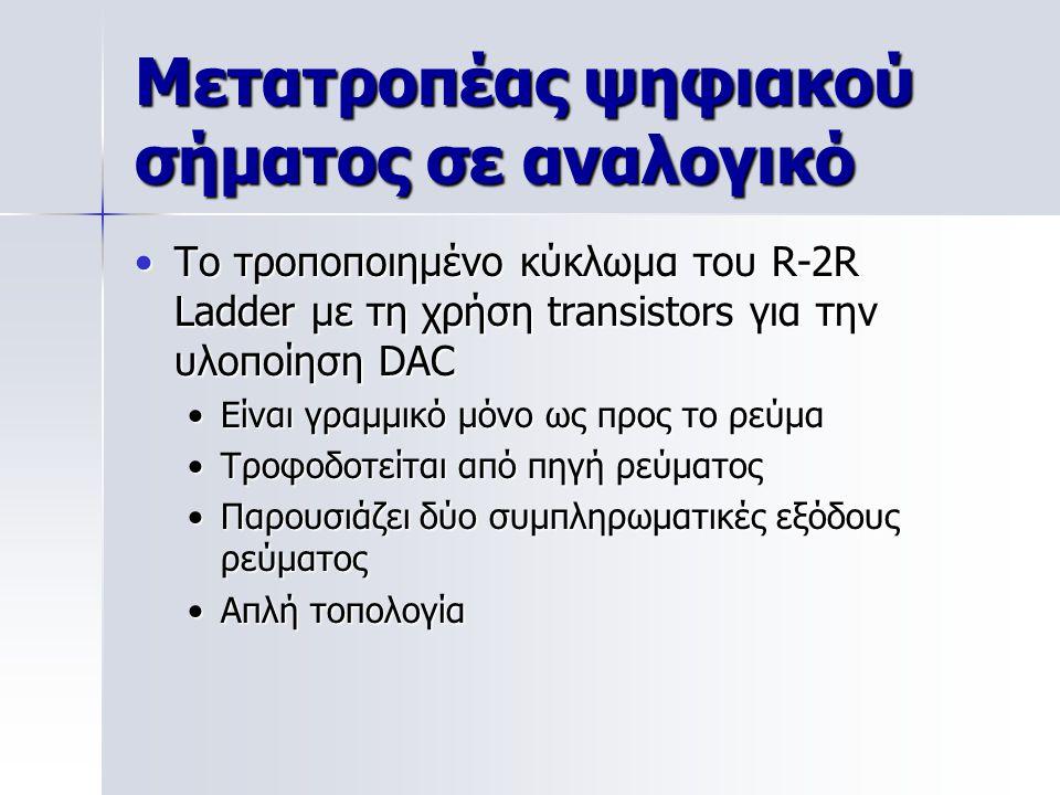 Μετατροπέας ψηφιακού σήματος σε αναλογικό Το τροποποιημένο κύκλωμα του R-2R Ladder με τη χρήση transistors για την υλοποίηση DACΤο τροποποιημένο κύκλωμα του R-2R Ladder με τη χρήση transistors για την υλοποίηση DAC Είναι γραμμικό μόνο ως προς το ρεύμαΕίναι γραμμικό μόνο ως προς το ρεύμα Τροφοδοτείται από πηγή ρεύματοςΤροφοδοτείται από πηγή ρεύματος Παρουσιάζει δύο συμπληρωματικές εξόδους ρεύματοςΠαρουσιάζει δύο συμπληρωματικές εξόδους ρεύματος Απλή τοπολογίαΑπλή τοπολογία