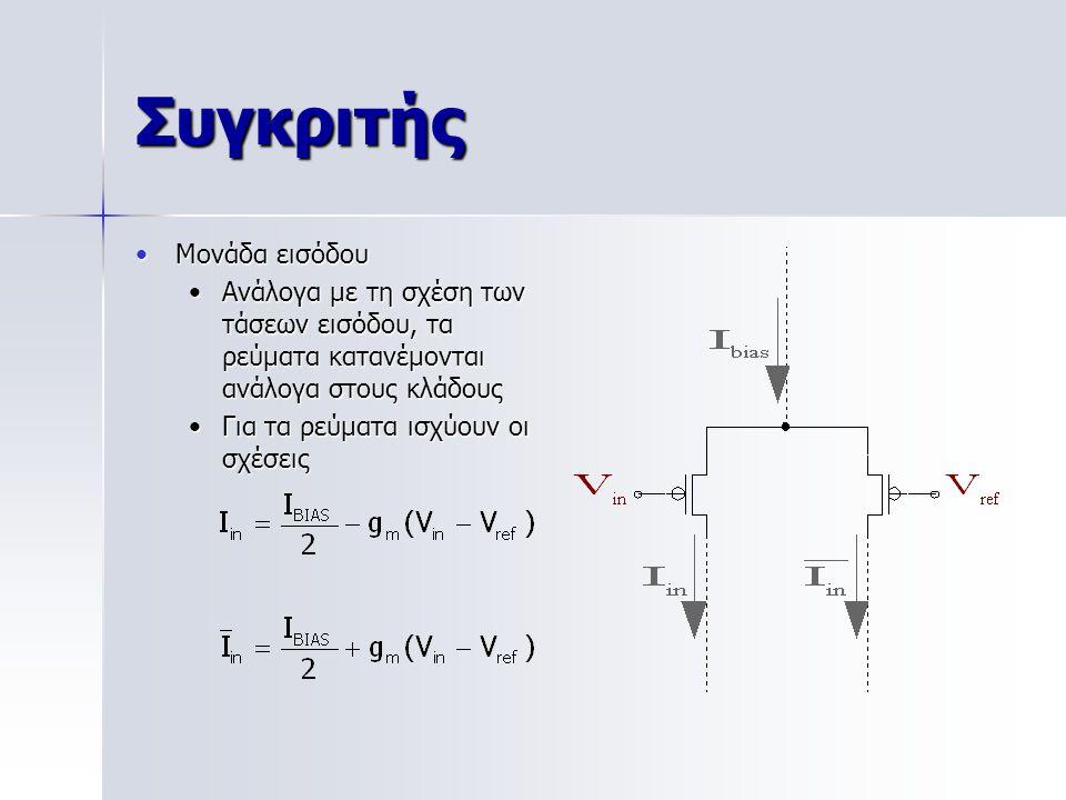 Συγκριτής Μονάδα εισόδουΜονάδα εισόδου Ανάλογα με τη σχέση των τάσεων εισόδου, τα ρεύματα κατανέμονται ανάλογα στους κλάδουςΑνάλογα με τη σχέση των τάσεων εισόδου, τα ρεύματα κατανέμονται ανάλογα στους κλάδους Για τα ρεύματα ισχύουν οι σχέσειςΓια τα ρεύματα ισχύουν οι σχέσεις