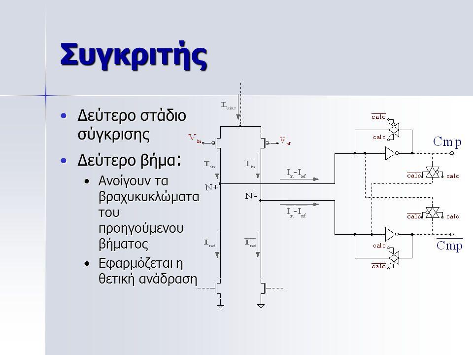 Συγκριτής Δεύτερο στάδιο σύγκρισηςΔεύτερο στάδιο σύγκρισης Δεύτερο βήμα :Δεύτερο βήμα : Ανοίγουν τα βραχυκυκλώματα του προηγούμενου βήματοςΑνοίγουν τα βραχυκυκλώματα του προηγούμενου βήματος Εφαρμόζεται η θετική ανάδρασηΕφαρμόζεται η θετική ανάδραση
