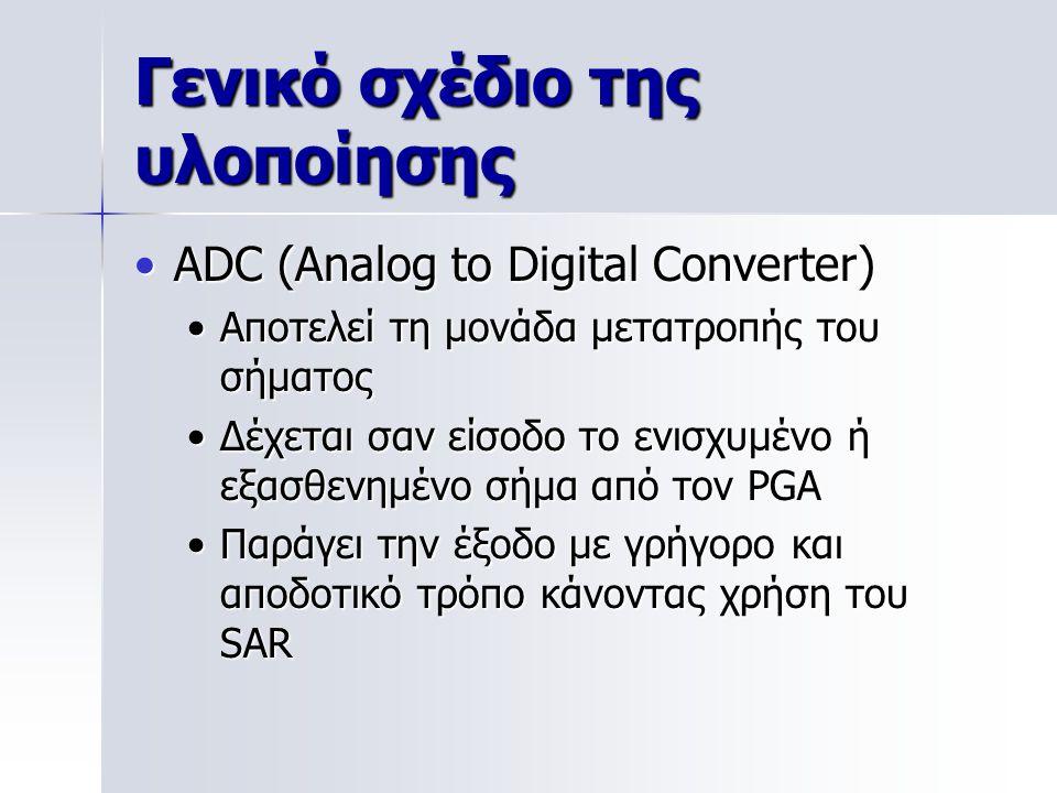 Γενικό σχέδιο της υλοποίησης ADC (Analog to Digital Converter)ADC (Analog to Digital Converter) Αποτελεί τη μονάδα μετατροπής του σήματοςΑποτελεί τη μονάδα μετατροπής του σήματος Δέχεται σαν είσοδο το ενισχυμένο ή εξασθενημένο σήμα από τον PGAΔέχεται σαν είσοδο το ενισχυμένο ή εξασθενημένο σήμα από τον PGA Παράγει την έξοδο με γρήγορο και αποδοτικό τρόπο κάνοντας χρήση του SARΠαράγει την έξοδο με γρήγορο και αποδοτικό τρόπο κάνοντας χρήση του SAR