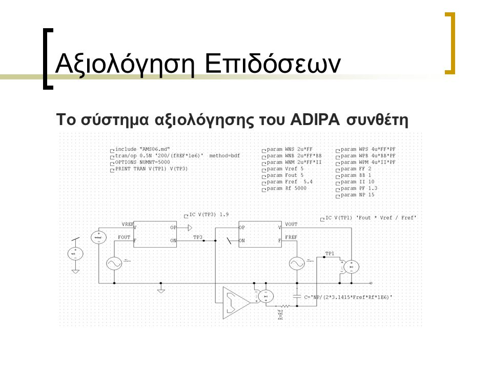 Αξιολόγηση Επιδόσεων Το σύστημα αξιολόγησης του ADIPA συνθέτη