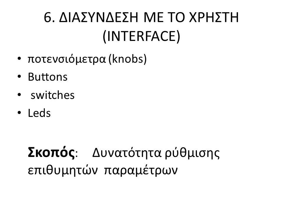 6. ΔΙAΣΥΝΔΕΣΗ ΜΕ ΤΟ ΧΡΗΣΤΗ (INTERFACE) ποτενσιόμετρα (knobs) Buttons switches Leds Σκοπός : Δυνατότητα ρύθμισης επιθυμητών παραμέτρων