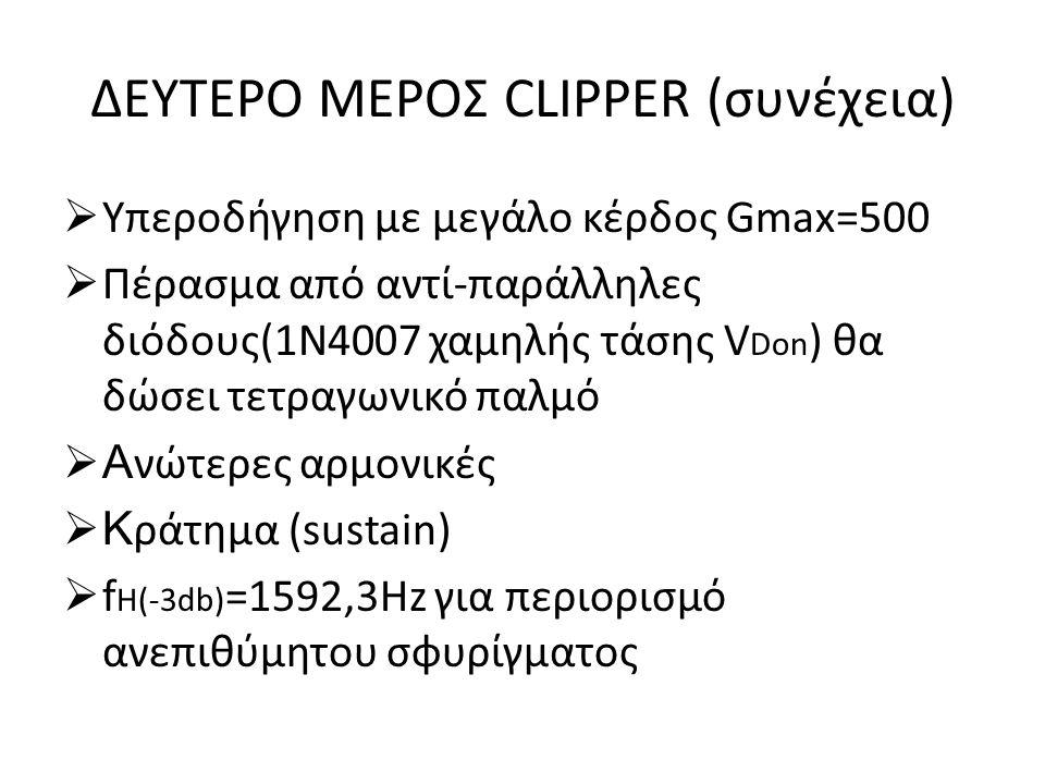 ΔΕΥΤΕΡΟ ΜΕΡΟΣ CLIPPER (συνέχεια)  Υπεροδήγηση με μεγάλο κέρδος Gmax=500  Πέρασμα από αντί-παράλληλες διόδους(1Ν4007 χαμηλής τάσης V Don ) θα δώσει τ
