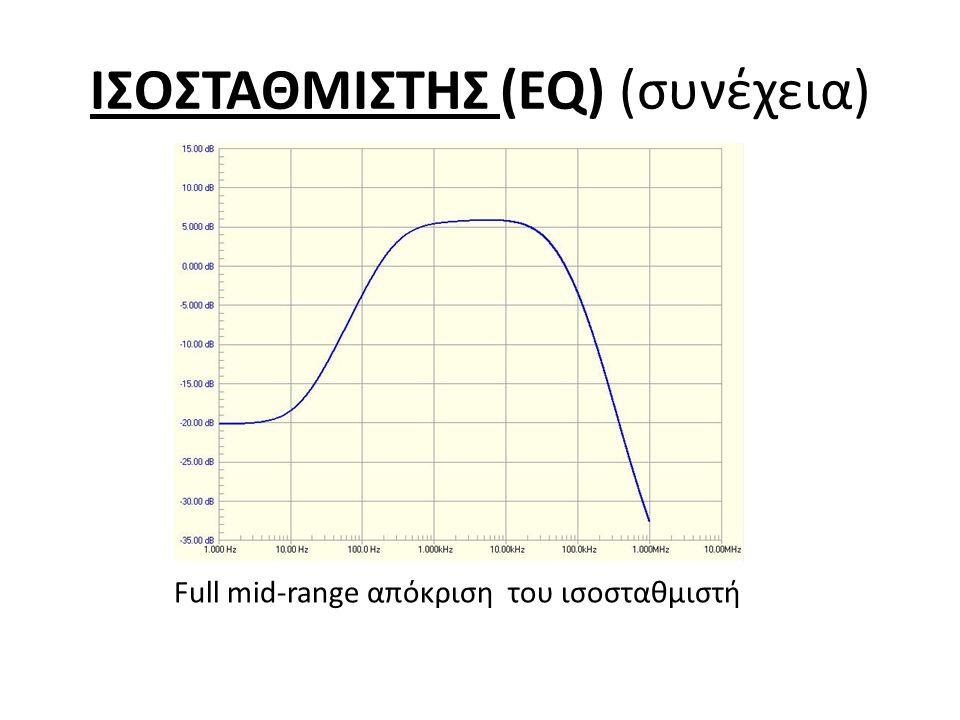 ΙΣΟΣΤΑΘΜΙΣΤΗΣ (EQ) (συνέχεια) Full mid-range απόκριση του ισοσταθμιστή