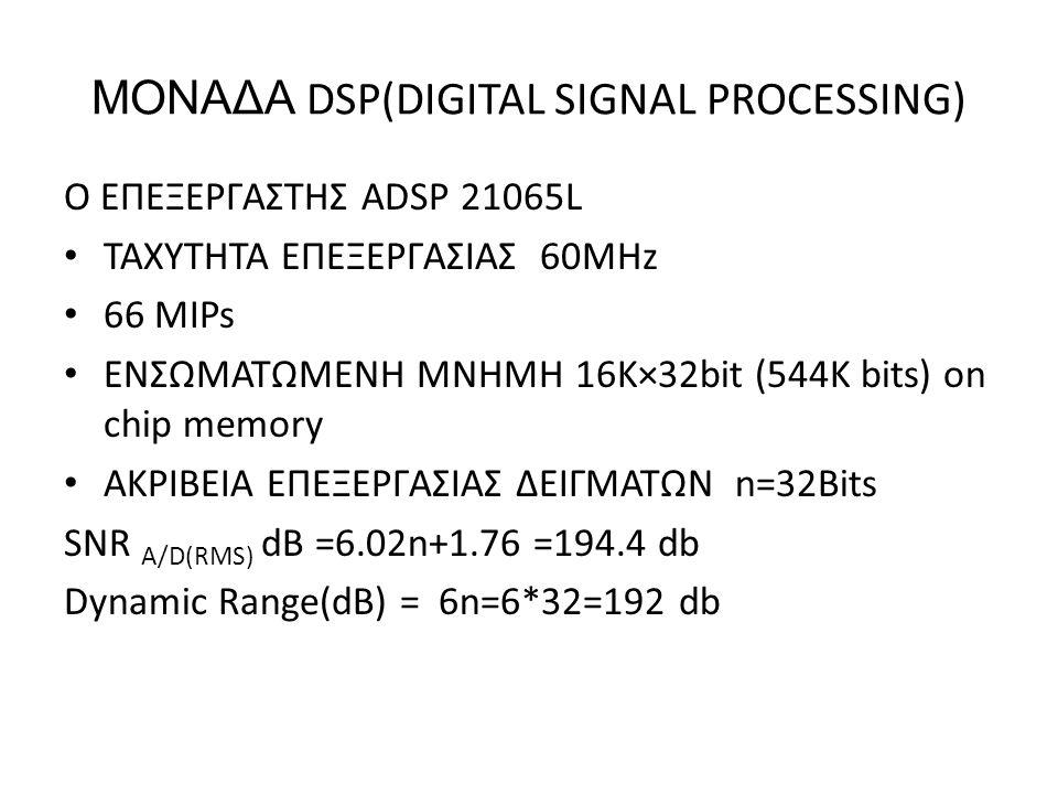 ΜΟΝΑΔΑ DSP(DIGITAL SIGNAL PROCESSING) O ΕΠΕΞΕΡΓΑΣΤΗΣ ADSP 21065L ΤΑΧΥΤΗΤΑ ΕΠΕΞΕΡΓΑΣΙΑΣ 60ΜΗz 66 ΜIPs ΕΝΣΩΜΑΤΩΜΕΝΗ ΜΝΗΜΗ 16K×32bit (544K bits) on chip