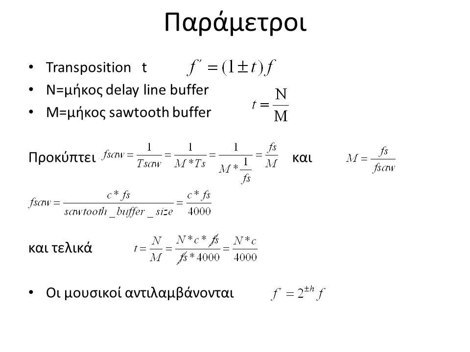 Παράμετροι Transposition t Ν=μήκος delay line buffer M=μήκος sawtooth buffer Προκύπτει και και τελικά Οι μουσικοί αντιλαμβάνονται