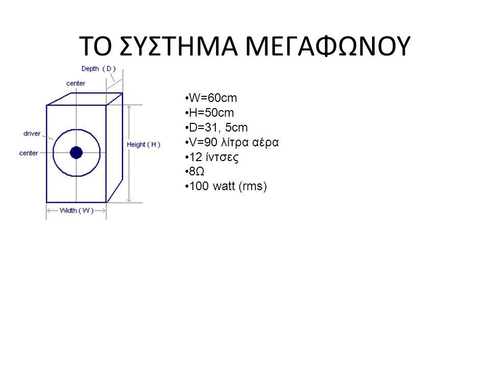 ΤΟ ΣΥΣΤΗΜΑ ΜΕΓΑΦΩΝΟΥ W=60cm H=50cm D=31, 5cm V=90 λίτρα αέρα 12 ίντσες 8Ω 100 watt (rms)