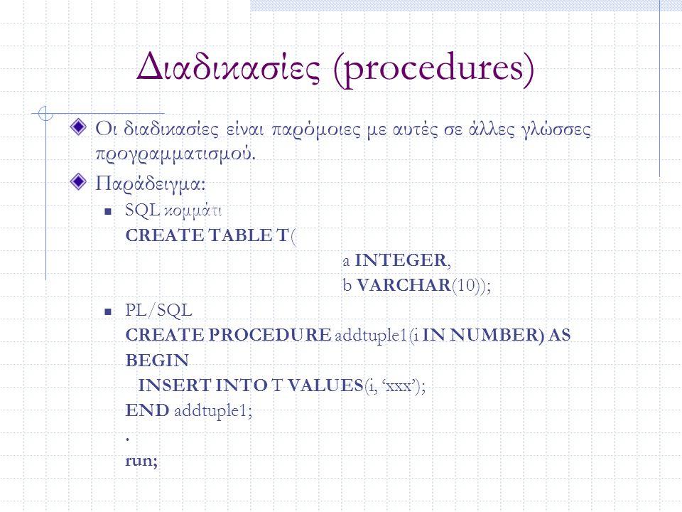 Διαδικασίες (procedures) Οι διαδικασίες είναι παρόμοιες με αυτές σε άλλες γλώσσες προγραμματισμού. Παράδειγμα: SQL κομμάτι CREATE TABLE T( a INTEGER,