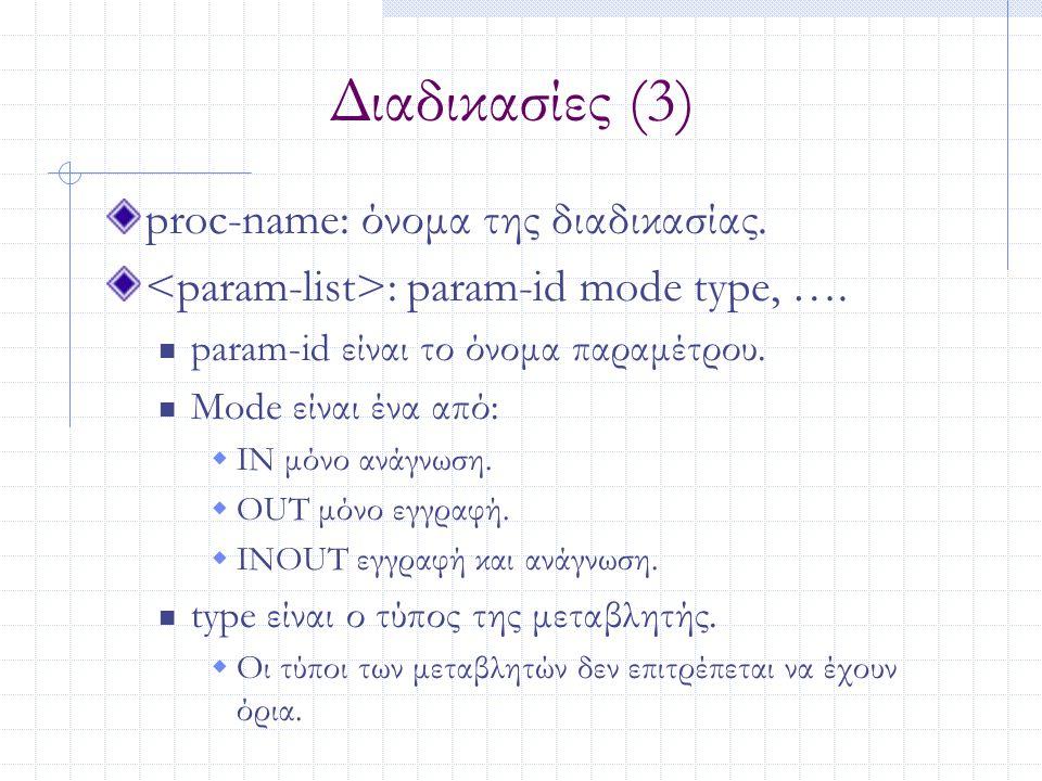 Διαδικασίες (3) proc-name: όνομα της διαδικασίας. : param-id mode type, …. param-id είναι το όνομα παραμέτρου. Mode είναι ένα από:  IN μόνο ανάγνωση.