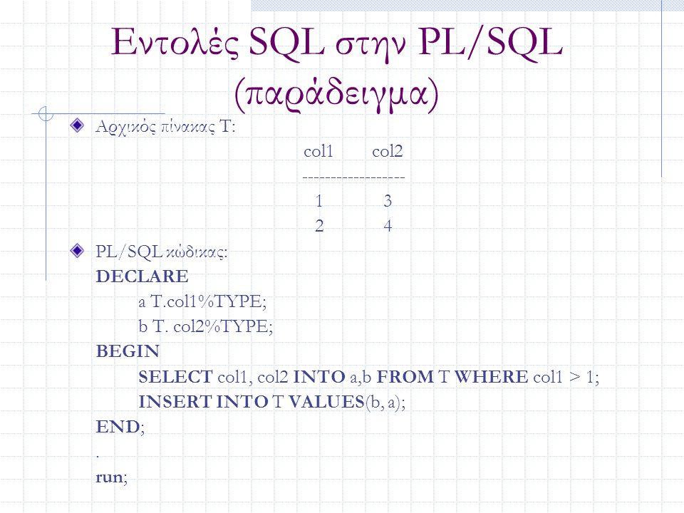 Εντολές SQL στην PL/SQL (παράδειγμα) Αρχικός πίνακας T: col1col2 ------------------ 13 24 PL/SQL κώδικας: DECLARE a T.col1%TYPE; b T. col2%TYPE; BEGIN