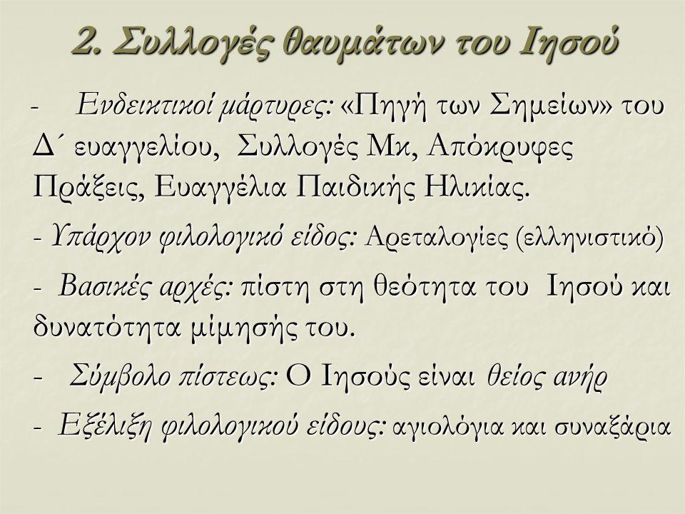 2. Συλλογές θαυμάτων του Ιησού - Ενδεικτικοί μάρτυρες: «Πηγή των Σημείων» του Δ´ ευαγγελίου, Συλλογές Μκ, Απόκρυφες Πράξεις, Ευαγγέλια Παιδικής Ηλικία