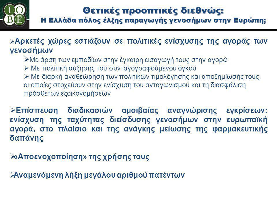 Θετικές προοπτικές διεθνώς: Η Ελλάδα πόλος έλξης παραγωγής γενοσήμων στην Ευρώπη;  Αρκετές χώρες εστιάζουν σε πολιτικές ενίσχυσης της αγοράς των γενο