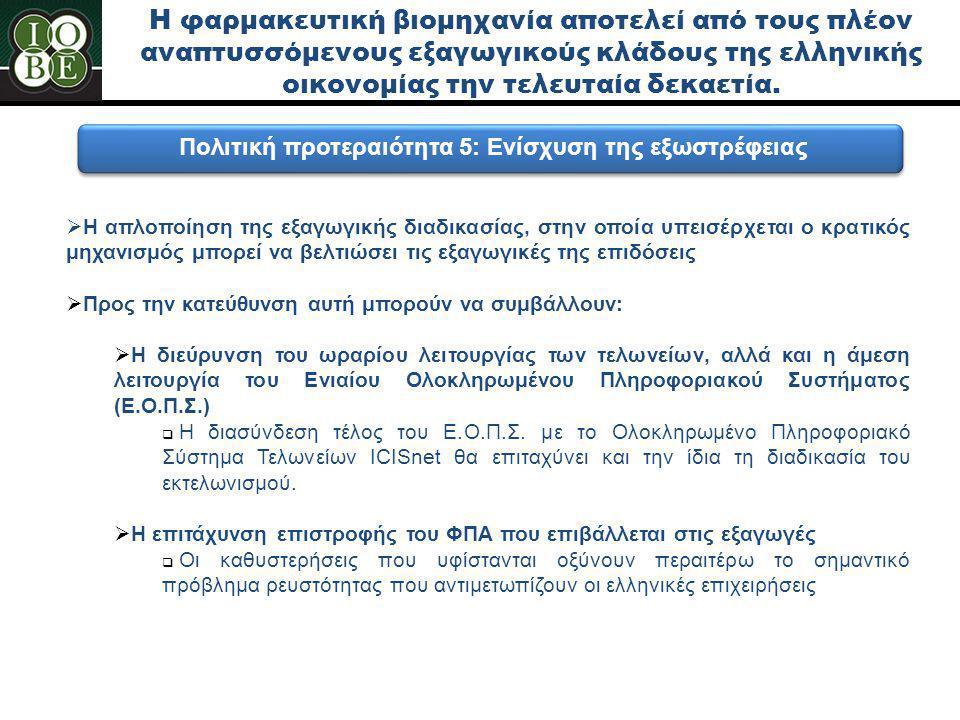 Η φαρμακευτική βιομηχανία αποτελεί από τους πλέον αναπτυσσόμενους εξαγωγικούς κλάδους της ελληνικής οικονομίας την τελευταία δεκαετία. Πολιτική προτερ