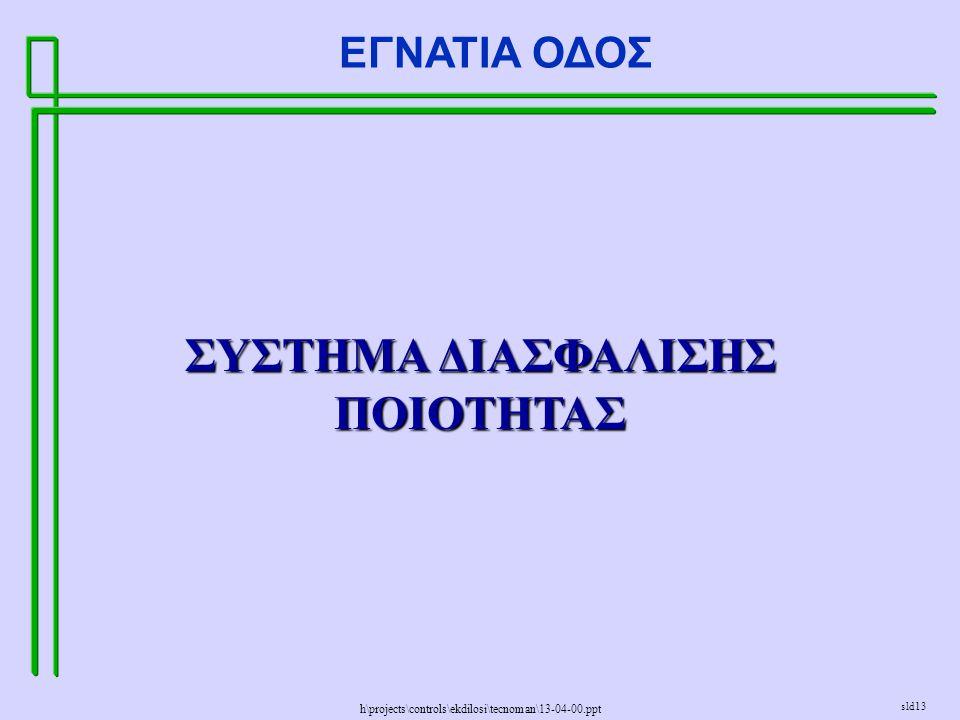 h\projects\controls\ekdilosi\tecnoman\13-04-00.ppt ΕΓΝΑΤΙΑ ΟΔΟΣ sld13 ΣΥΣΤΗΜΑ ΔΙΑΣΦΑΛΙΣΗΣ ΠΟΙΟΤΗΤΑΣ