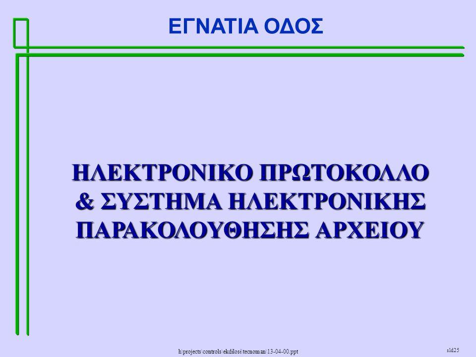 h\projects\controls\ekdilosi\tecnoman\13-04-00.ppt ΕΓΝΑΤΙΑ ΟΔΟΣ sld25 ΗΛΕΚΤΡΟΝΙΚΟ ΠΡΩΤΟΚΟΛΛΟ & ΣΥΣΤΗΜΑ ΗΛΕΚΤΡΟΝΙΚΗΣ ΠΑΡΑΚΟΛΟΥΘΗΣΗΣ ΑΡΧΕΙΟΥ