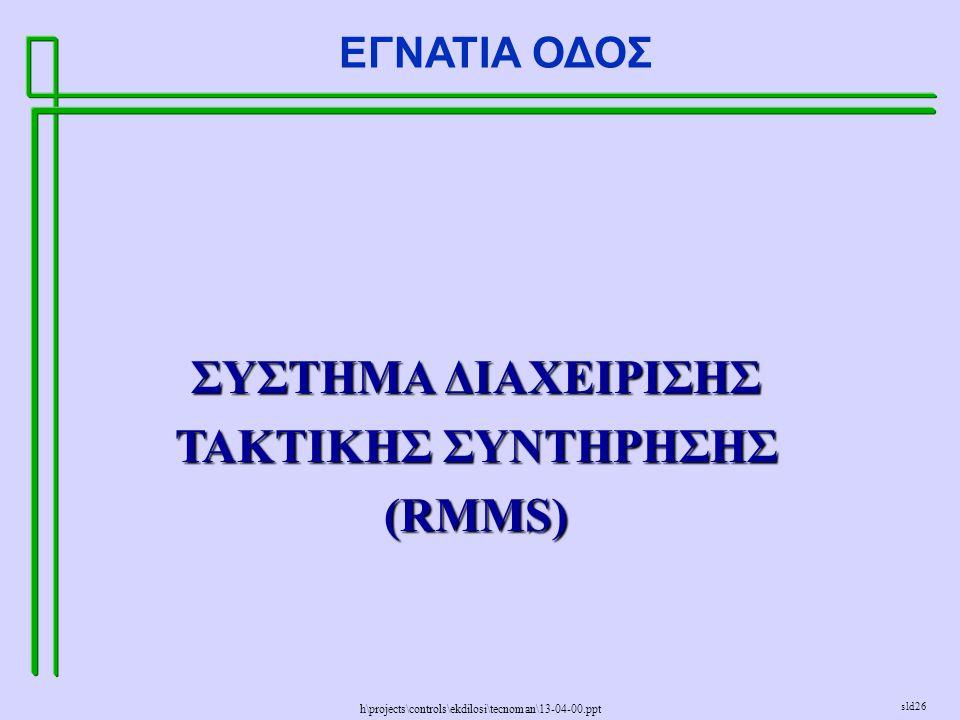h\projects\controls\ekdilosi\tecnoman\13-04-00.ppt ΕΓΝΑΤΙΑ ΟΔΟΣ sld26 ΣΥΣΤΗΜΑ ΔΙΑΧΕΙΡΙΣΗΣ ΤΑΚΤΙΚΗΣ ΣΥΝΤΗΡΗΣΗΣ (RMMS)