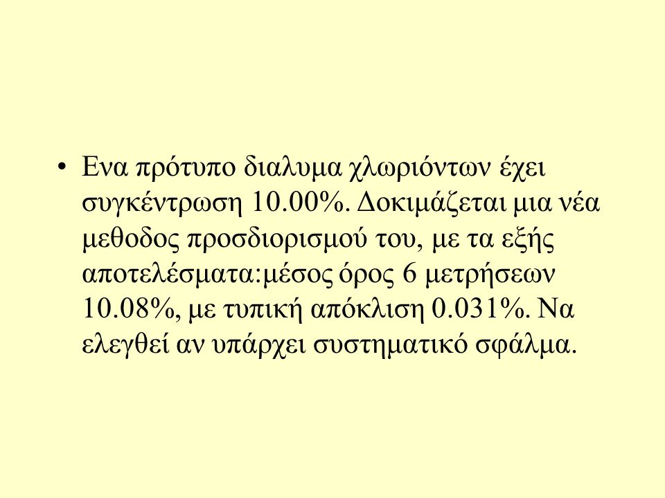 Eνα πρότυπο διαλυμα χλωριόντων έχει συγκέντρωση 10.00%.