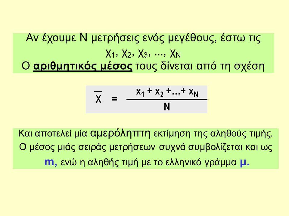 Αν έχουμε Ν μετρήσεις ενός μεγέθους, έστω τις χ 1, χ 2, χ 3,..., χ Ν Ο αριθμητικός μέσος τους δίνεται από τη σχέση Και αποτελεί μία αμερόληπτη εκτίμηση της αληθούς τιμής.