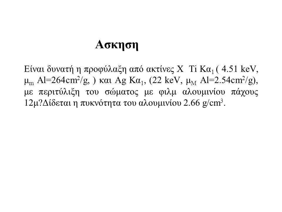 Είναι δυνατή η προφύλαξη από ακτίνες Χ Ti Κα 1 ( 4.51 keV, μ m Al=264cm 2 /g, ) και Ag Κα 1, (22 keV, μ Μ Al=2.54cm 2 /g), με περιτύλιξη του σώματος με φιλμ αλουμινίου πάχους 12μ?Δίδεται η πυκνότητα του αλουμινίου 2.66 g/cm 3.