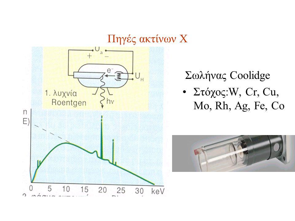 Πηγές ακτίνων Χ Σωλήνας Coolidge Στόχος:W, Cr, Cu, Mo, Rh, Ag, Fe, Co