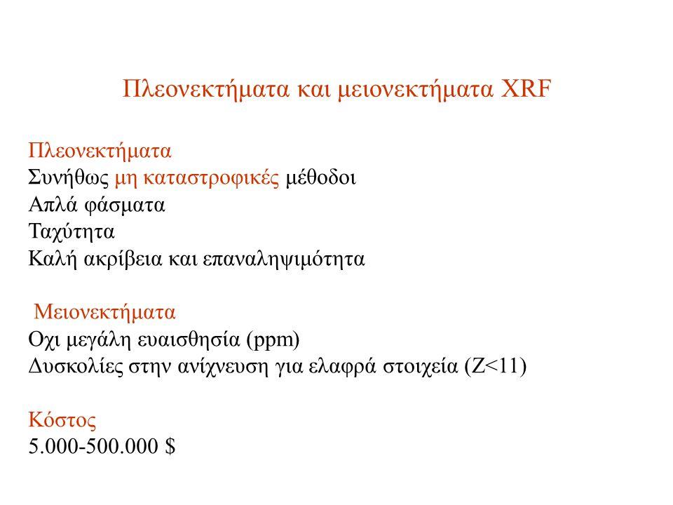 Πλεονεκτήματα και μειονεκτήματα XRF Πλεονεκτήματα Συνήθως μη καταστροφικές μέθοδοι Απλά φάσματα Ταχύτητα Καλή ακρίβεια και επαναληψιμότητα Μειονεκτήματα Οχι μεγάλη ευαισθησία (ppm) Δυσκολίες στην ανίχνευση για ελαφρά στοιχεία (Ζ<11) Κόστος 5.000-500.000 $