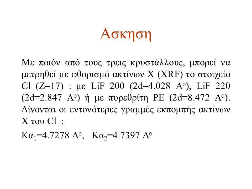 Ασκηση Mε ποιόν από τους τρεις κρυστάλλους, μπορεί να μετρηθεί με φθορισμό ακτίνων Χ (ΧRF) το στοιχείο Cl (Z=17) : με LiF 200 (2d=4.028 A o ), LiF 220 (2d=2.847 A o ) ή με πυρεθρίτη PE (2d=8.472 A o ).