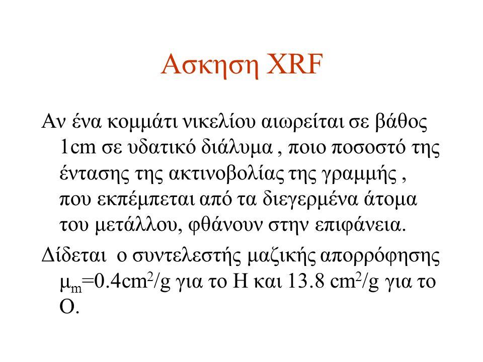 Ασκηση XRF Αν ένα κομμάτι νικελίου αιωρείται σε βάθος 1cm σε υδατικό διάλυμα, ποιο ποσοστό της έντασης της ακτινοβολίας της γραμμής, που εκπέμπεται από τα διεγερμένα άτομα του μετάλλου, φθάνουν στην επιφάνεια.