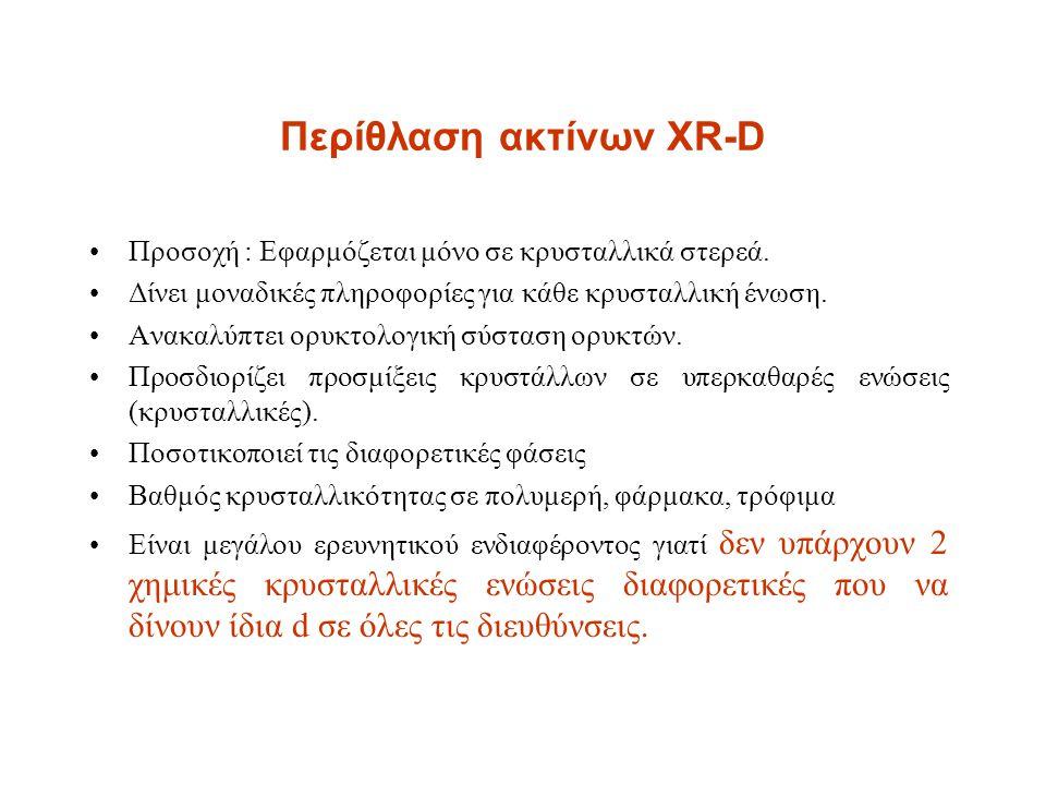 Περίθλαση ακτίνων XR-D Προσοχή : Εφαρμόζεται μόνο σε κρυσταλλικά στερεά. Δίνει μοναδικές πληροφορίες για κάθε κρυσταλλική ένωση. Ανακαλύπτει ορυκτολογ