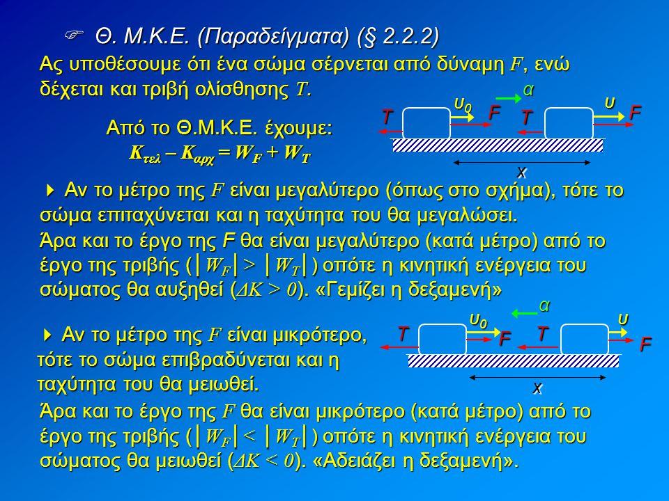  Θ. M.K.E. (Παραδείγματα) (§ 2.2.2) x υ FF α Τ Τ υ0υ0υ0υ0 Ας υποθέσουμε ότι ένα σώμα σέρνεται από δύναμη F, ενώ δέχεται και τριβή ολίσθησης T.  Αν τ