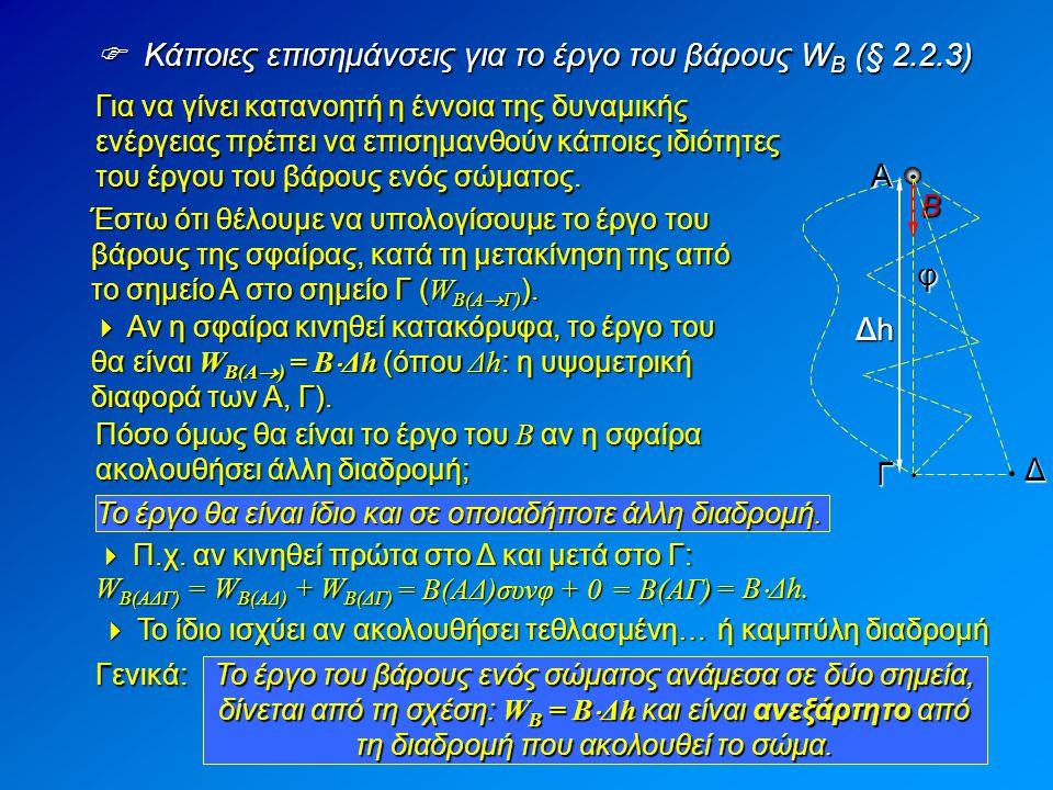  Κάποιες επισημάνσεις για το έργο του βάρους W B (§ 2.2.3) Για να γίνει κατανοητή η έννοια της δυναμικής ενέργειας πρέπει να επισημανθούν κάποιες ιδι