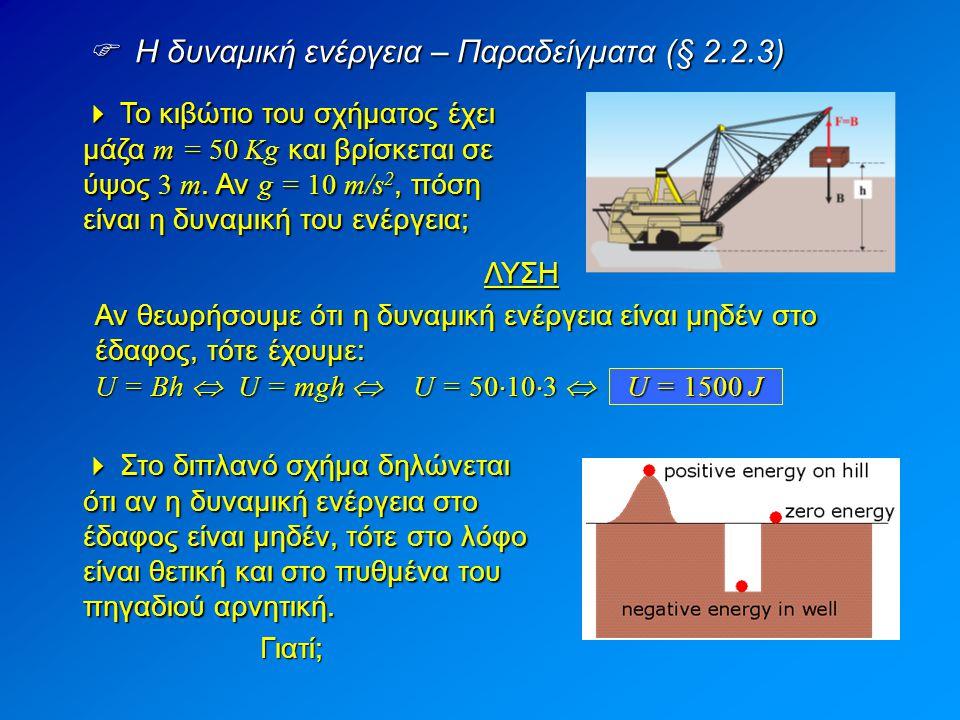  Η δυναμική ενέργεια – Παραδείγματα (§ 2.2.3)  Το κιβώτιο του σχήματος έχει μάζα m = 50 Kg και βρίσκεται σε ύψος 3 m. Αν g = 10 m/s 2, πόση είναι η