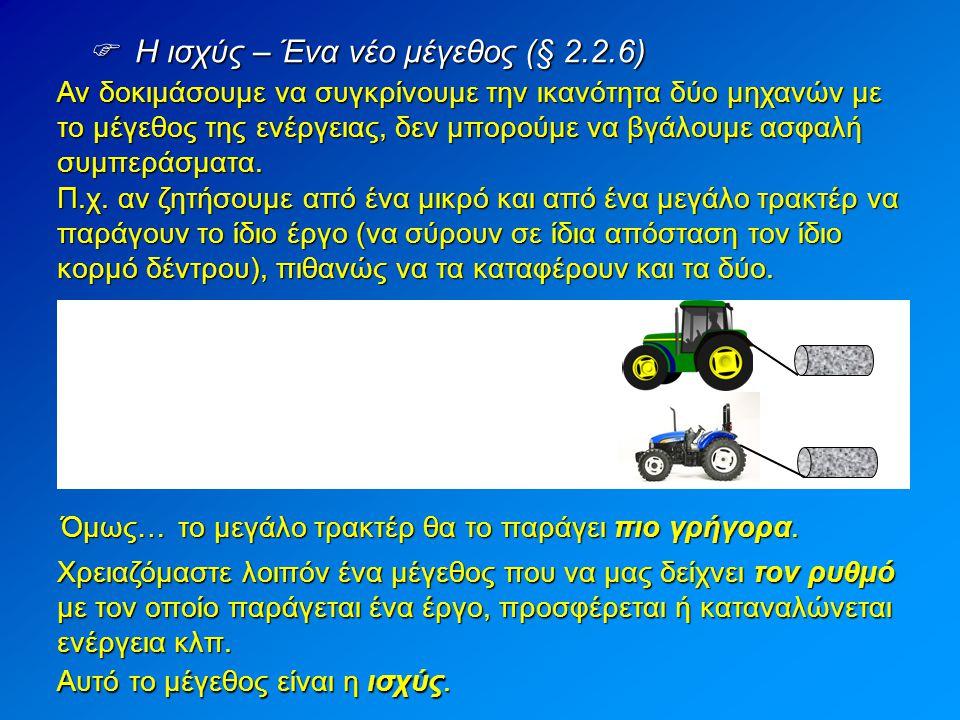  Η ισχύς – Ένα νέο μέγεθος (§ 2.2.6) Αν δοκιμάσουμε να συγκρίνουμε την ικανότητα δύο μηχανών με το μέγεθος της ενέργειας, δεν μπορούμε να βγάλουμε ασ