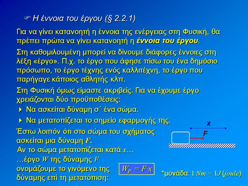  Η έννοια του έργου (§ 2.2.1) Για να γίνει κατανοητή η έννοια της ενέργειας στη Φυσική, θα πρέπει πρώτα να γίνει κατανοητή η έννοια του έργου. Στη κα