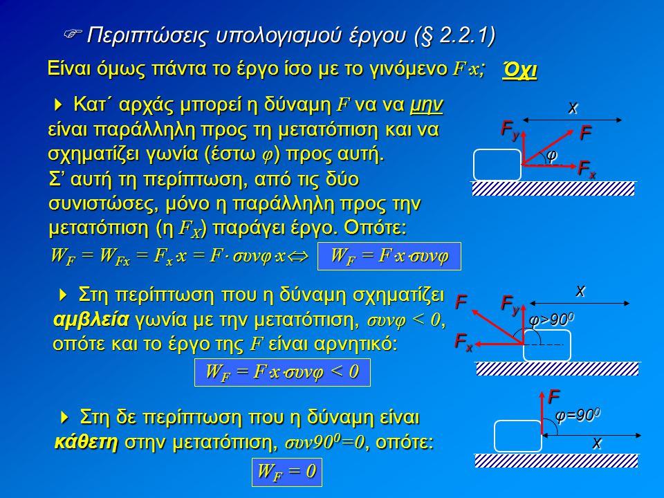  Περιπτώσεις υπολογισμού έργου (§ 2.2.1) Είναι όμως πάντα το έργο ίσο με το γινόμενο F  x ; Όχι  Κατ΄ αρχάς μπορεί η δύναμη F να να μην είναι παράλ