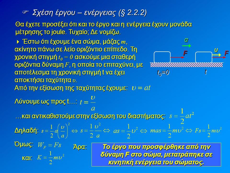  Σχέση έργου – ενέργειας (§ 2.2.2) Θα έχετε προσέξει ότι και το έργο και η ενέργεια έχουν μονάδα μέτρησης το joule. Τυχαίο; Δε νομίζω.  Έστω ότι έχο