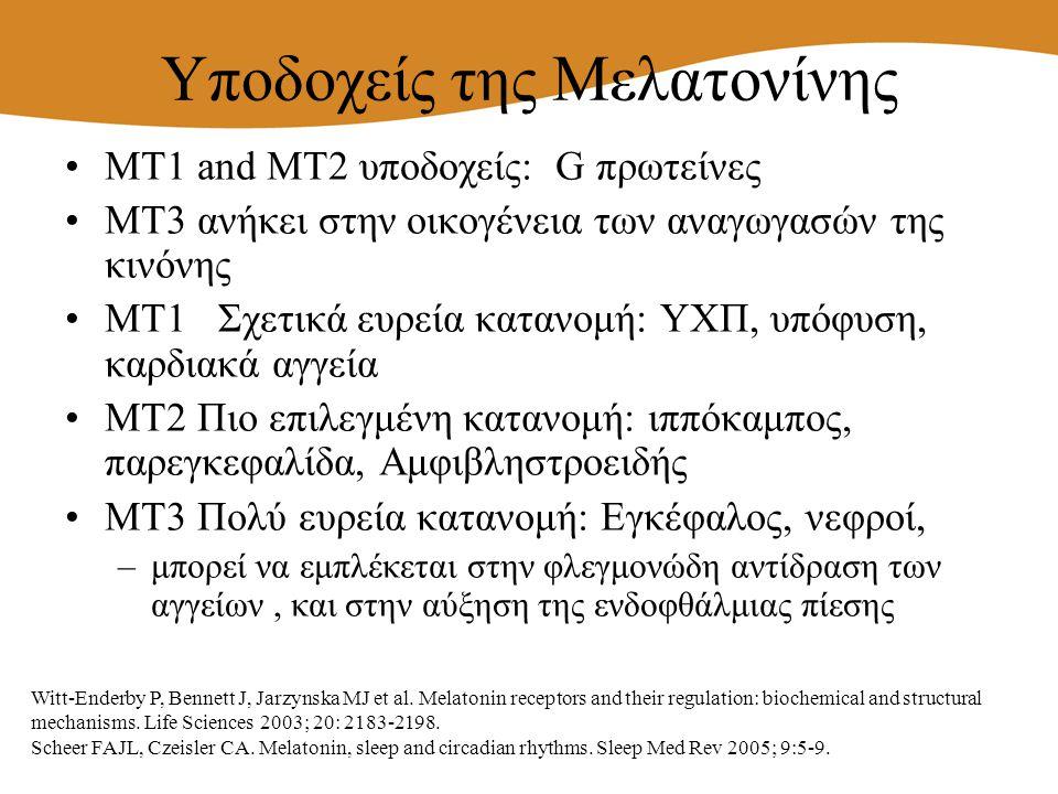 Υποδοχείς της Μελατονίνης MT1 and MT2 υποδοχείς: G πρωτείνες MT3 ανήκει στην οικογένεια των αναγωγασών της κινόνης ΜΤ1 Σχετικά ευρεία κατανομή: ΥΧΠ, υ