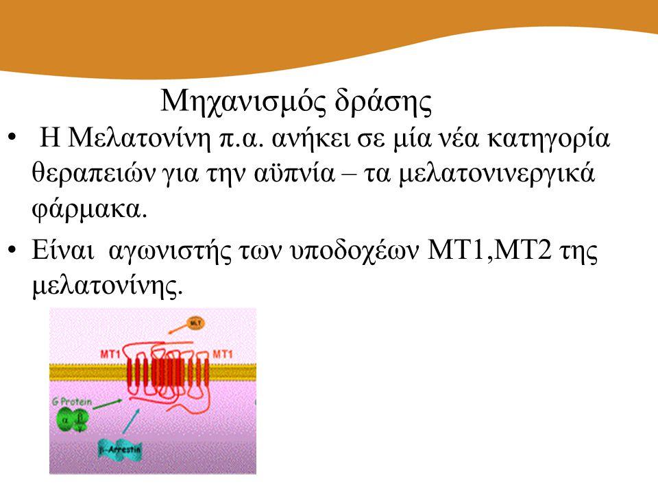 Η Μελατονίνη π.α. ανήκει σε μία νέα κατηγορία θεραπειών για την αϋπνία – τα μελατονινεργικά φάρμακα. Είναι αγωνιστής των υποδοχέων ΜΤ1,ΜΤ2 της μελατον