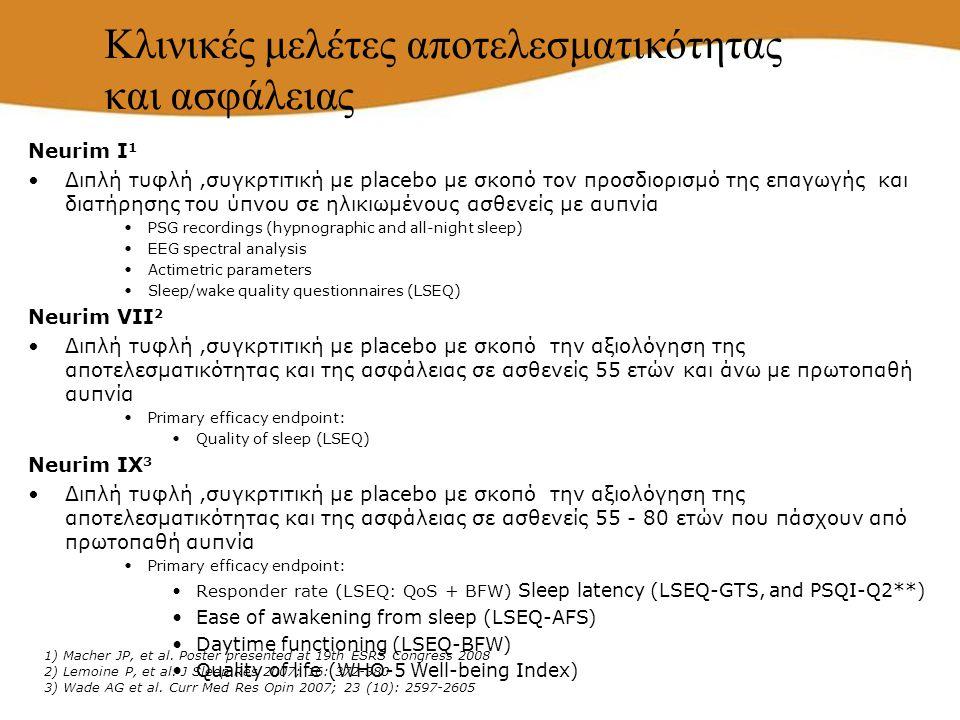Neurim I 1 Διπλή τυφλή,συγκρτιτική με placebo με σκοπό τον προσδιορισμό της επαγωγής και διατήρησης του ύπνου σε ηλικιωμένους ασθενείς με αυπνία PSG r