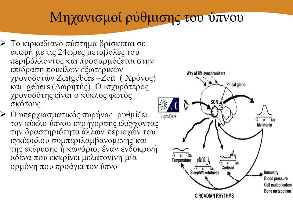  Το κιρκαδιανό σύστημα βρίσκεται σε επαφή με τις 24ωρες μεταβολές του περιβάλλοντος και προσαρμόζεται στην επίδραση ποικίλων εξωτερικών χρονοδοτών Ze